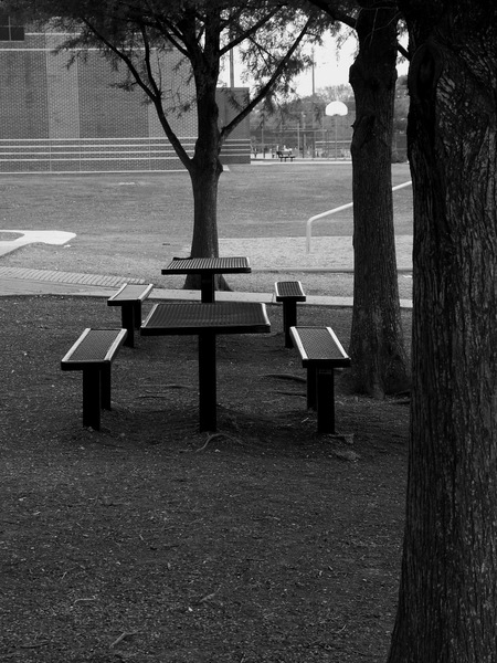 Benches that normally hold kids on lunch breaks.