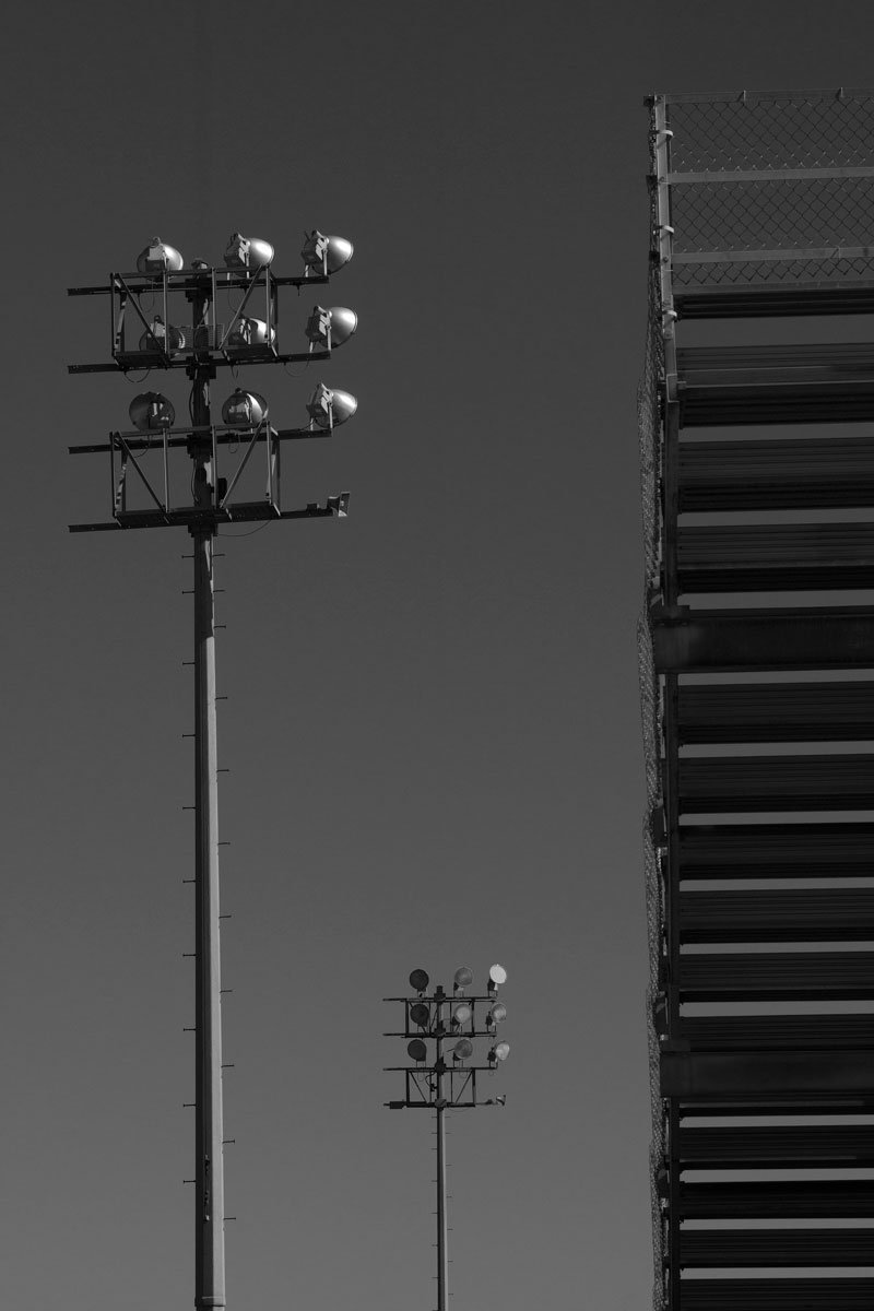 January 20, 2015:  The world is full of interesting lines, patterns, forms, juxtapositions and perspectives.  A different take on a school football stadium.  Still...life.