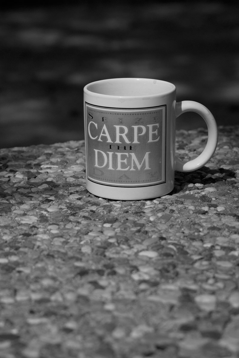 March 4, 2015:  Years ago, a friend gave me this cup.  It was popular after the release of the movie Dead Poet Society. Seeing it this afternoon, worn and stained on a rough-surfaced table, the poignancy of the meaning became more profound.  Still...life.