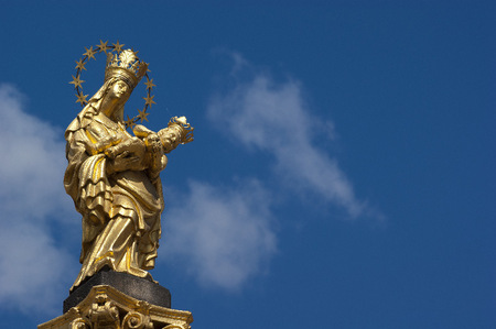 Holy Mother statue in  Plzen Czech Republic near St. Bartholomew's.