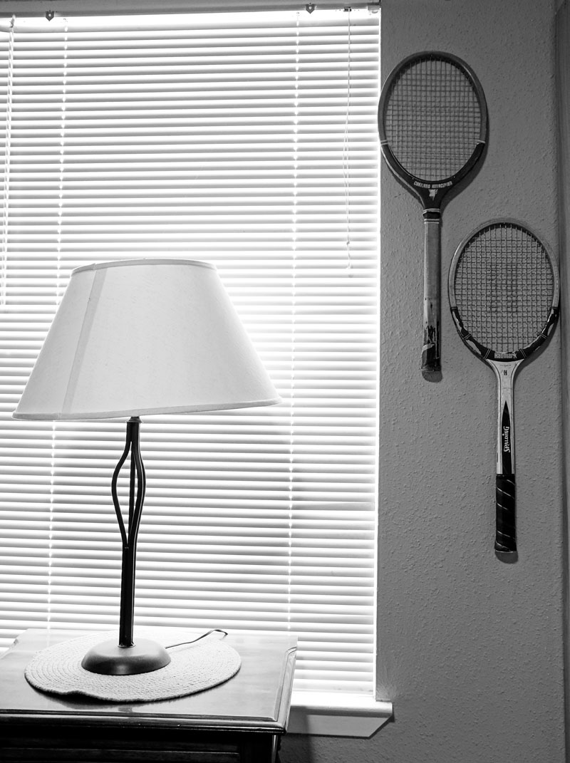 January 6, 2015:  My mom's first tennis racket on top, mine below...separated by 40 years.  Wash table generations old refinished by dear friend two decades ago.  Connections, memories, legacies.  Still...life.