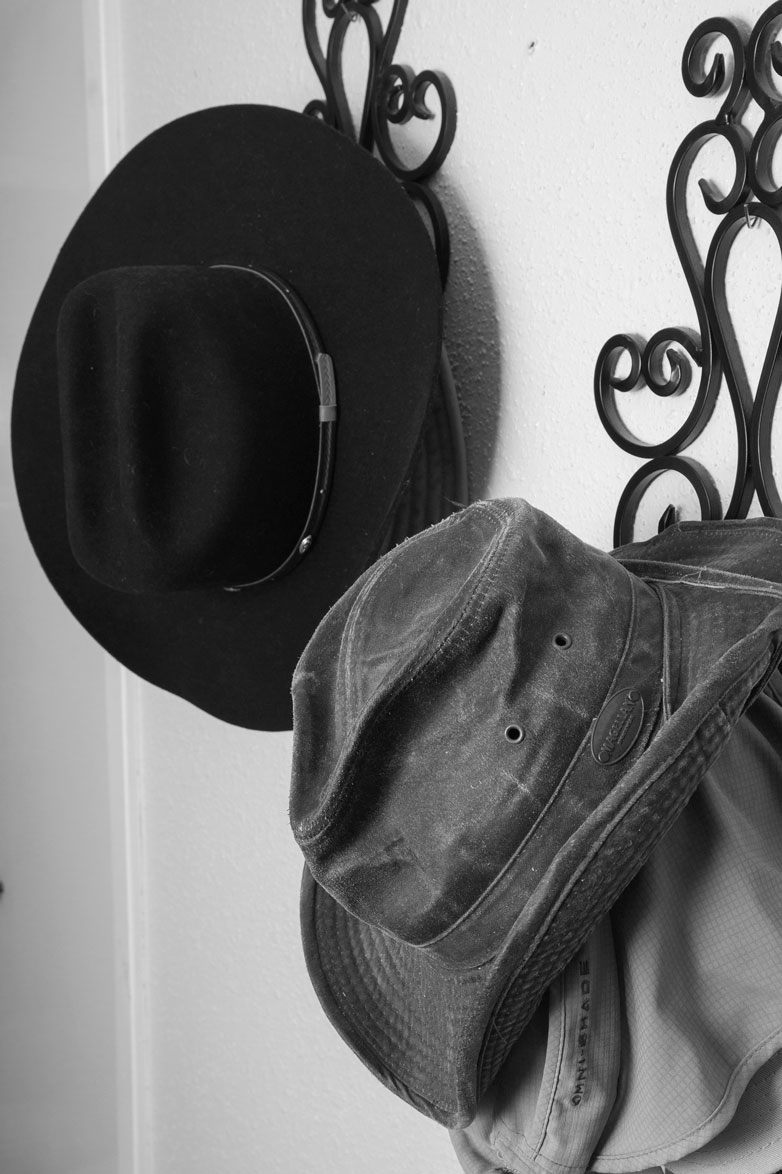 January 12, 2015:  Fishing caps and cowboy hats--heart and soul on the walls.  Some things reveal to the world who and what you are at your essence.  Look around.  See.  Those things are you; see what shows in others' homes. See.  Still...life.