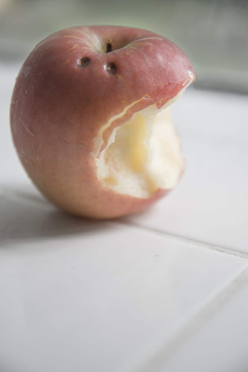 November 3, 2015:  It looks like Dracula got to my apple before I did.  Perhaps just a flight of imagination.  Still...life.