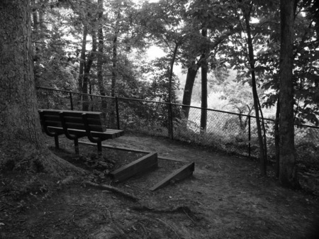 Bench at the site of a Civil War battle in Virginia.