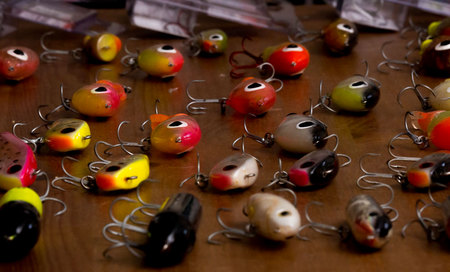January 26, 2015:  Years ago, I would lay out my fishing lures to admire, organize and conduct some maintenance.  Now, my youngest son, a sponsored fisherman, lays out his lures as the man's  tools of the trade that they are instead of as boyhood toys that they were.  Still...life.