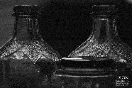 March 20, 2015:  The light caught my eye and the bottles caught my imagination.  I bet they would be great to hold moonshine...if I had a still.  Still....life.