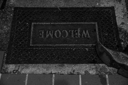 June 6, 2015:  The welcome mat welcomes, while also partially hiding the flaw of the broken tile and protects from possible missteps on the drop off.  A genuine welcome.  Still...life.