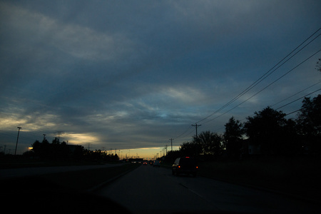 December 2, 2015:  A beautiful sky is enough to take one's mind off the frustrations of strings of awaiting brake lights...traffic.  Still...life.