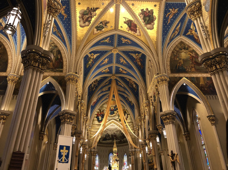 April 27  The Basilica of the Sacred Heart at University of Notre Dame prior to my wife's cousin's son's ordination.  Beautiful and breathtaking, and soon to be filled with voices and song.  Incredible.